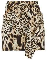 Alexandre Vauthier Lynx-print Silk-blend Satin Mini Skirt - Womens - Leopard