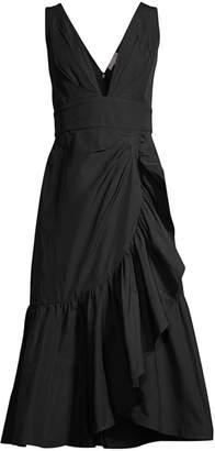 Rebecca Taylor Ruffled A-Line Midi Taffeta Dress