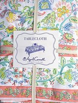 April Cornell Fabric Tablecloth French Farm House Floral Pattern in Shades of Blue Green Yellow Orange Red with Orange Border -- 60 Inches by 120 Inches
