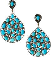 Bavna Turquoise & Diamond Teardrop Earrings