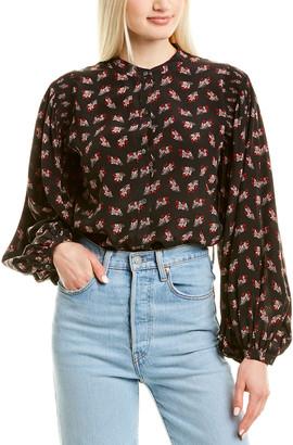 Frame Floral Print Silk Top