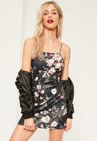 Missguided Petite Exclusive Black Scuba Floral Print Cami Dress