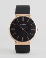 Sekonda Black Leather Watch With Rose Gold Dial Exclusive To ASOS