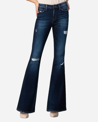 Express Flying Monkey Mid Rise Distressed Bell Flare Jeans
