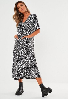 Missguided Black Dalmatian Button Through Midi Smock Dress