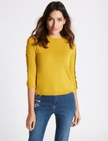 Marks and Spencer Lace Applique Round Neck 3/4 Sleeve Jumper