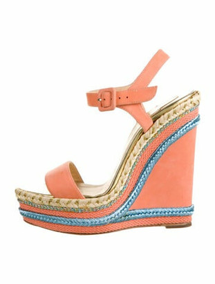 Christian Louboutin Leather Colorblock Pattern Espadrilles Orange