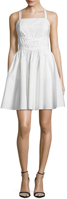 Halston Crisscross Strap Mini Dress