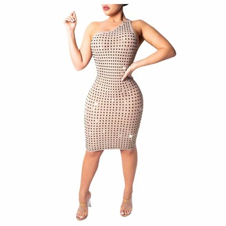 Your New Look Women's Rhinestone Beaded One Shoulder Backless Bodycon Dress Sexy Sleeveless Mini Party Dress for Party Club Events Beige