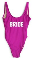Onlybaby Women's Letter Print BRIDE Backless One Piece Swimsuits Medium