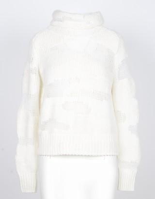 Lamberto Losani White Distressed 100% Cashmere Women's Sweater