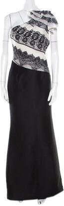 Carolina Herrera Monochrome Lace Print Silk One Shoulder Evening Gown L