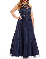 Masquerade Plus Stone Embellished Lace Bodice Ball Gown