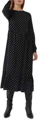 Warehouse Spot Print Tiered Midi Dress