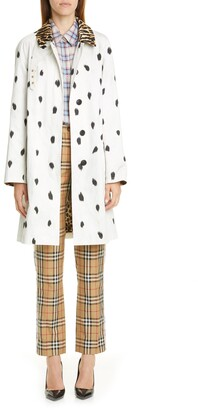 Burberry Carrington Animal Print Cotton Car Coat