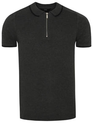 George Grey Zip Neck Knitted Polo Shirt
