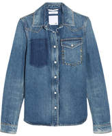 Valentino Rockstud Distressed Denim Shirt - Mid denim