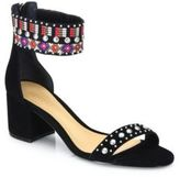 Schutz Naharis Embroidered Suede City Sandals