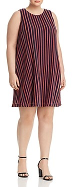 Adrianna Papell Ribbed Stripe Trapeze Dress