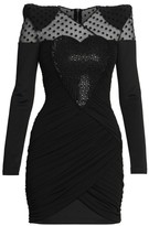 Balmain Draped Heart Long-Sleeve Mini Dress