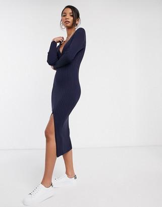 Asos Design DESIGN knit rib midi dress with wrap detail-Navy