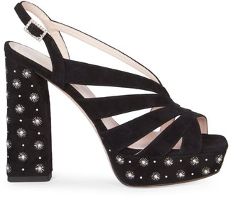 Roger Vivier Twinkle Star Suede Slingback Platform Sandals