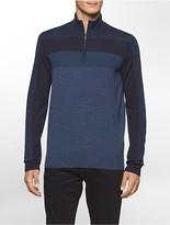 Calvin Klein Merino Wool Striped Zip Sweater