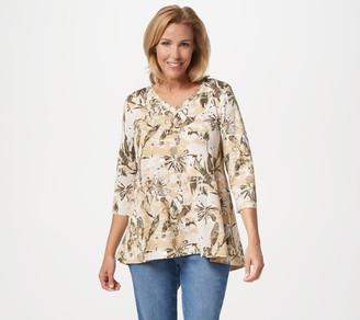 Denim & Co. Printed V-Neck 3/4 Sleeve Swing Top