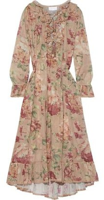 Zimmermann Cosair Ruffle Crochet-trimmed Floral-print Cotton-gauze Dress