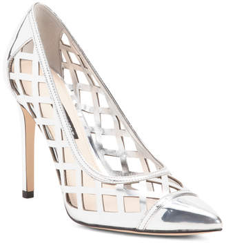 Metallic Lattice Detail Leather Pumps