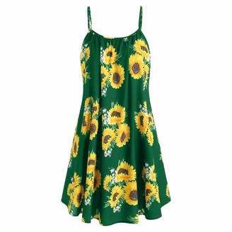 VECDY Women Boho Dress Chic Sunflower Print A-Line Slash Neck Strap Sleeveless Mini Dress Loose Lightweight Cute Beach Sundress(12-14
