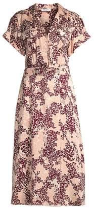 Equipment Orlena Floral & Leopard Print Silk-Blend A-Line Shirtdress