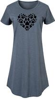 Instant Message Women's Women's Tee Shirt Dresses HEATHER - Heather Blue Pawprint Heart Short-Sleeve Dress - Women & Plus