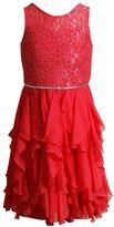 Girls 7-16 Emily West Woven Lace Cascade Ruffle Skirt Dress