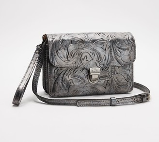 Patricia Nash Leather Crossbody Bag - Embossed Bianco