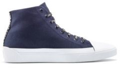 High-top sneakers in canvas with reverse-logo laces