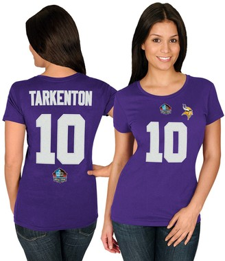 Majestic Women's Fran Tarkenton Purple Minnesota Vikings Hall of Fame Fair Catch V T-Shirt