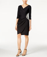 Alex Evenings Compression Embellished Faux-Wrap Dress