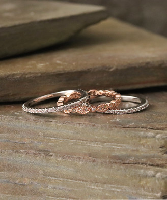Designs By Karamarie Designs by KaraMarie Women's Rings - Cubic Zirconia & Two-Tone Band Set