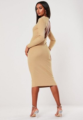 Missguided Mocha Faux Suede High Neck Open Back Midi Dress