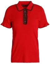 ALEXACHUNG Ruffle-Trimmed Ribbed-Knit Polo Shirt