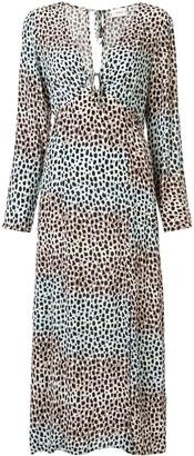SUBOO Amelie long sleeve animal-print dress