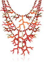 Kenneth Jay Lane 3 Row Multi Coral and Gold Branch Necklace