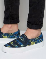 Asos Slip On Sneakers in Navy Floral Print With Stripe