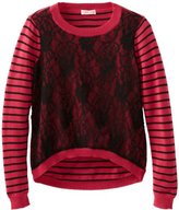 Design History Big Girls' Sweater with Lace Front