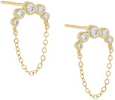 Adina's Jewels Bezel Arc Chain Stud Earrings