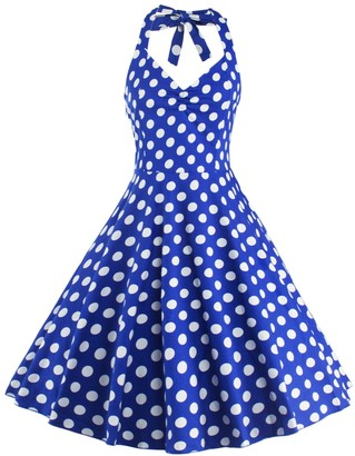 U Shot U-shot Women 50's Vintage Polka Dot Bridesmaid Gown Cocktail Party Halter Swing Dress Blue