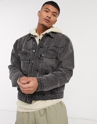 N. Liquor Poker denim jacket with bubble pockets in washed grey