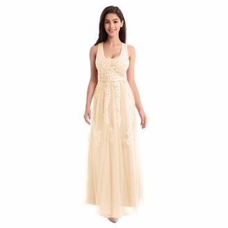 OBEEII Women's Vintage Lace Wedding Dress A Line Evening Gown Light Blue UK 26