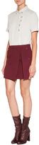 Marios Schwab Wool Mini Skirt with High Split and Insert in Burgundy